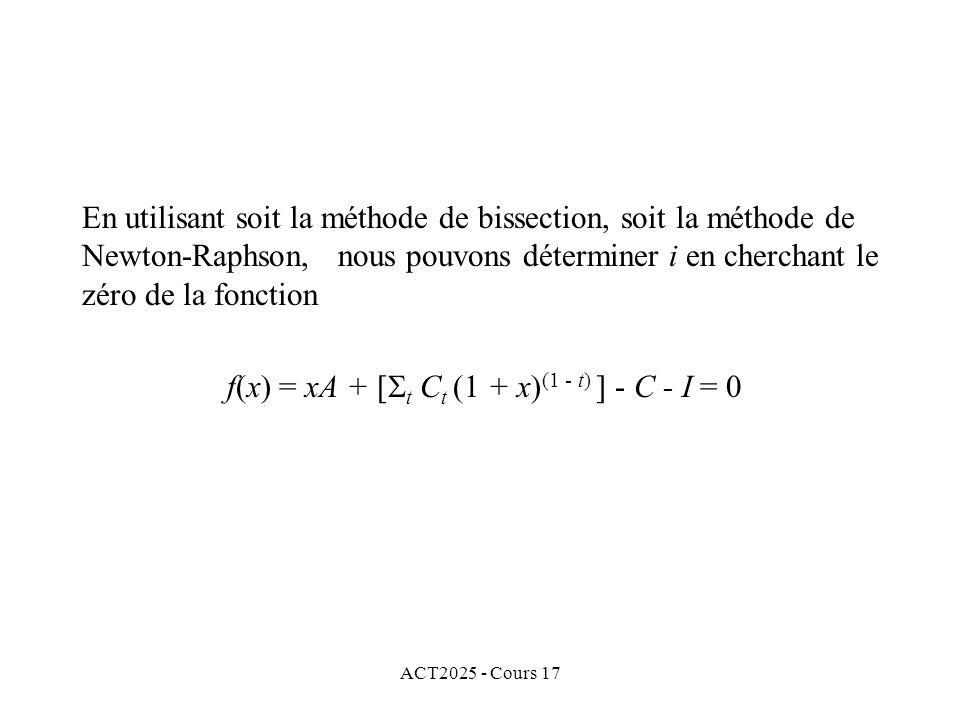 f(x) = xA + [t Ct (1 + x)(1 - t) ] - C - I = 0